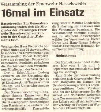 Jülicher Nachrichten vom 30.01.2001