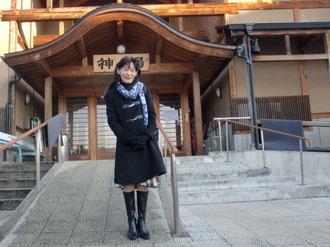 遠刈田温泉「神の湯」の前で