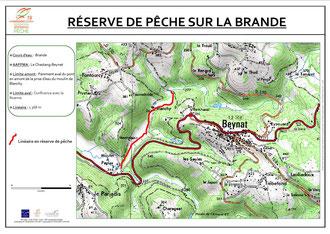 Carte de localisation de la réserve de pêche sur la Brande