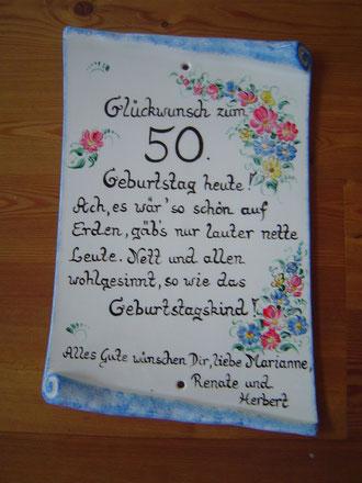 Für den runden Geburtstag- Keramiktafel €48,-