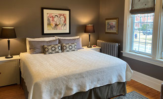 Queen Bed with private bath.