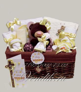 """© Большая подарочная корзина для новорожденной девочки """" Chocco Cream"""""""