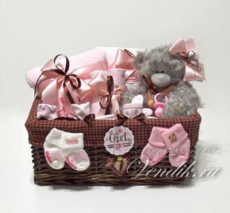 """Подарочный набор для новорожденной девочки """"Серенький Мишутка"""""""