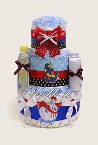 """Торт из памперсов  универсальный """" Морской"""""""