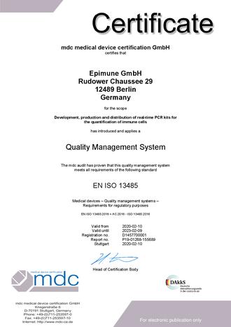 ISO 13485 Zertifikat