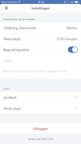 Je kunt de Jimdo live chat app precies instellen zoals je zelf wilt om je klanten te helpen