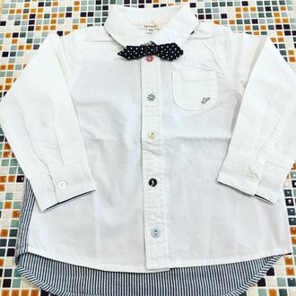 セラフ                    蝶ネクタイ付きシャツ(S108027)        (size 100・110・140㎝)          ¥2.600+税