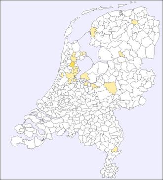 Verteilung des Namens Ordeman in den Niederlanden - Quelle: www.meertens.knaw.nl