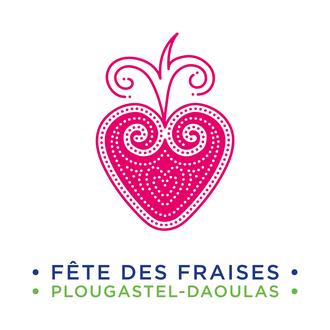 logo fête des fraises sivi plougastel-daoulas plougastell motif breton inspiration seizh breur rose vert bleu