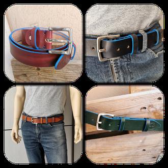 cintura in cuoi con bordo azzurro