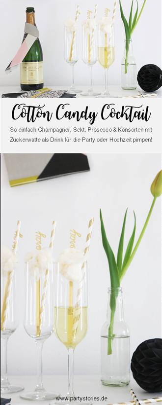 Cotton Candy Cocktail: Sekt, Prosecco und Crémant mal anders? Probiere diesen Aperitif mit Zuckerwatte, perfekt für die Briadal Shower, den JGA, die Hochzeit, für Silvester und Parties mit den Mädels, gefunden auf www.partystories.de