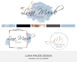 Exemple d'un ensemble préfait de logos proposé par Luna Maude Design