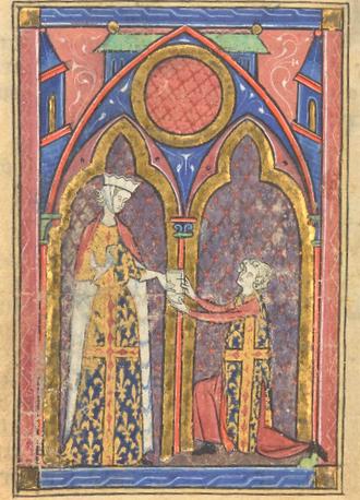Fig. 3 - Le Roman de la Poire, 13e, France, BNF, f. 10v.