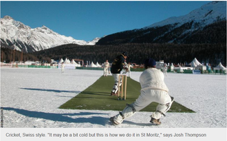St Moritz Lake, one of the world's top places to play cricket