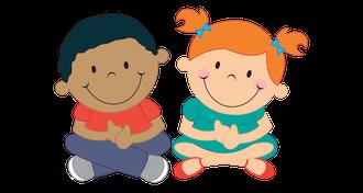Illustration: Zwei Kinder sitzen im Schneidersitz
