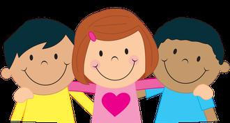 Illustration: Kinder halten sich im Arm