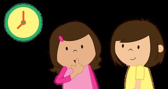 Illustration: Zwei Kinder neben einer Uhr