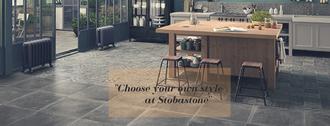 tegelvloer grijze tegel betonlook tegel patroonvloer patroontegels stobastone keuken houten keuken