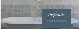 badkamer vrijstaand bad romantisch bad, bad op pootjes, handgebakken tegeltjes, stobastone, klassieke kraan blauw grijs wit