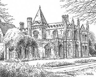Warley Abbey in 1934. Thanks for the use of this image to E W Green, Historic Buildings in Pen & Ink - The Work of William Albert Green. See Acknowledgements for a link to thAT site.