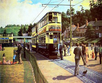 'A Day out at the Lickeys' 1952, a postcard from a painting by R K Calvert. Image by ronholpic/ Ron Hollins on Flickr reusable under Creative Commons licence Attribution-NoDerivs 2.0 Generic (CC BY-ND 2.0)