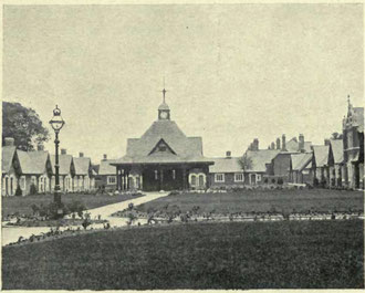 Bournville Almshouses. Image from Helen Cadbury Alexander 1906 'Richard Cadbury of Birmingham' - now out of copyright.