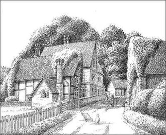 The 17th-century Lyndon Green Farm, Barrows Lane demolished 1939, drawn 1937. Thanks to E W Green, Historic Buildings in Pen & Ink - The Work of William Albert Green. See Acknowledgements.