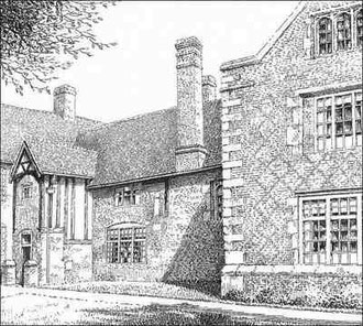 Hay Hall. Thanks for the use of this image to E W Green, Historic Buildings in Pen & Ink - The Work of William Albert Green. See Acknowledgements.