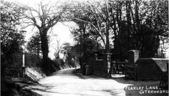 Flaxley Lane. Image from the Acocks Green History Society website, use permitted for non-commercial or educational purposes. See Acknowledgements for a link to that site.