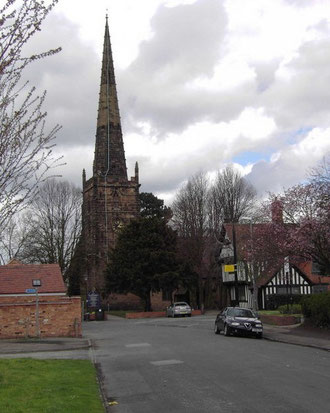Yardley Church viewed from the south. The Old Grammar School is on the right of the photgraph.