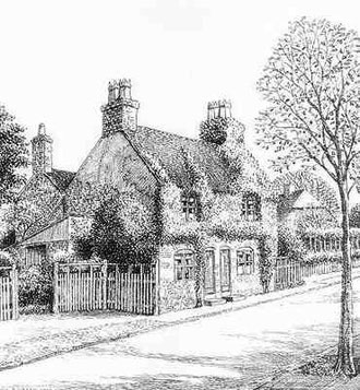 Woodthorpe Road in Kings Heath - drawn in 1938. Thanks for the use of this image to E W Green, Historic Buildings in Pen & Ink - The Work of William Albert Green.