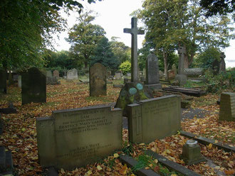 Castle Bromwich was a chapel of Aston and burials took place there until 1810 when permission was granted for a graveyard to be laid out in a field opposite the church. Castle Bromwich became a parish in 1827. The cross marks the Bateman family grave.