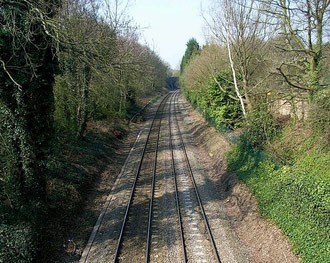 The site of Penns Station viewed from Penns Lane bridge looking north