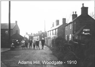 Photograph of Woodgate village reproduced from the Harold Hall collection with the kind permission of the Bartley Green & District History Group. 'All Rights Reserved'. See Acknowledgements for a link to their website.