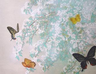 「小手毬と蝶」 F6号 32㎝×41㎝ 日本画