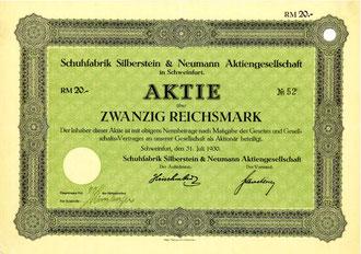Aktie der Schuhfabrik Silberstein 1920