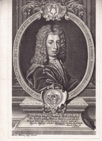 Johann Christoph Schmidt - Grabstichel und Radierung ca. 1724, Nürnberg von Hieronymus Böllmann - das Bild des jungen Johann Christoph Schmidt wurde für seine Leichenpredigt gestaltet
