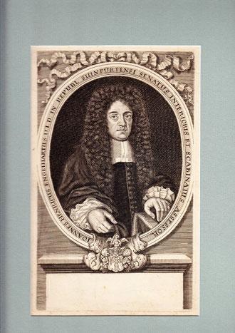 Johann Heinrich Engelhart - darunter sein Wappen -  Kupferstich um 1700