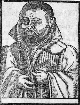 Heinrich Herrmann Frey im Predigerornat mit Buch; Holzschnitt bei J. Schröder; 1605