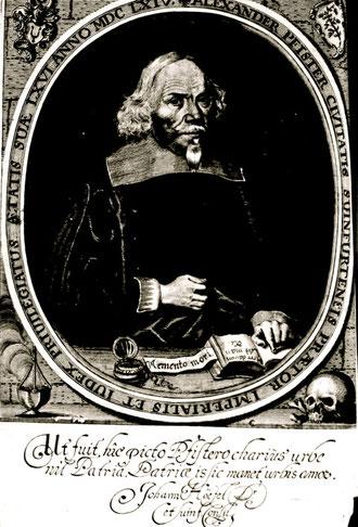 Alexander Pfister 1598 -  1664 Pfister Civitatis Suinfurtensis Praetor Imperialis Et Iudex Priuilegiatus Aetatis Suae LXVI Anno MDC LXIV., Grabstichel, Radierung und Punktierverfahren