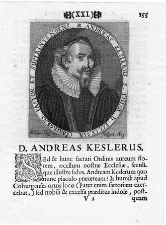 Andreas Kesler 1595 - 1642 Brustbild im Schriftoval. Kupferstich von M. Haffner