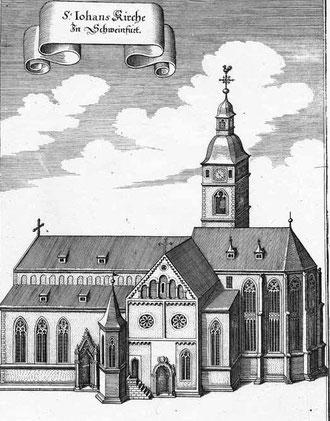 Johann Hermann (1586-1656) zeichnete für Matthias Merian 1646 diese Ansicht der Johanniskirche