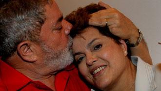 Brasiliens fhv. præsident Luiz Inácio Lula da Silva med landets nuværende præsident  Dilma Rousseff