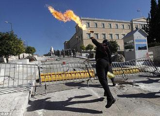 Vrede protester foran det græske parlament