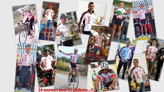 Les 14 coureurs qui ont fait au moins un podium cette année.
