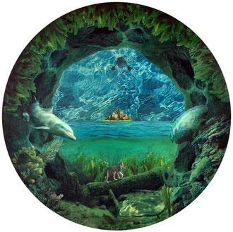 Philipp Heckmann, Maler, Die Insel der fischenden Katze, Collage, Ø 70cm