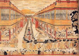 羽川藤永「朝鮮人行列図」。東京国立博物館蔵