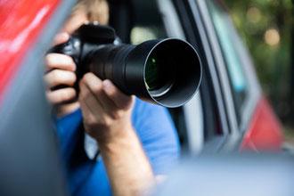 探偵員、追跡、カメラ、