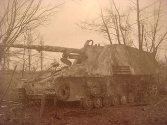 Abandonned Nashorn of Kampfgruppe Blasius (Photo courtesy Karl-Heinz Münch history of schw.Pz.Jg.Abt 654)