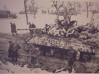 Allied Sherman Tank with camo painting in Jebsheim 1945
